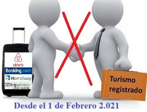 las Webs Vacacionales pueden anunciar viviendas SIN Registro de Turismo Autonómico